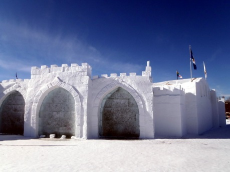 "2015 Long John Jamboree - A corner of the snow castle. Contained in the arches are ""windows"" made of ice"