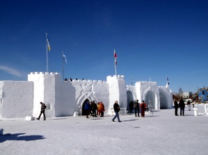 2015 Long John Jamboree - The front of the snow castle. You can see people walking on the parapets inside.