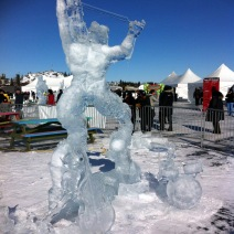 "2015 Long John Jamboree - This sculpture was titled ""The Devil went down to Georgia"" carved by a team from USA and they won a second place Gold Medal. On the right you can see a drum set and the figure is playing a violin !"