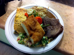 Discovery Feast food - roast Muskox and Arctic Char with Bannock and vegetables