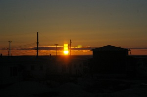 The non-sunset in Cambridge Bay 1:00 a.m. on May 24, 2015.  The start of two months of perpetual daylight