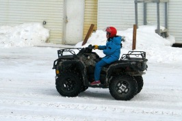 An ATV/quad is the way to go once the snow starts diminishing